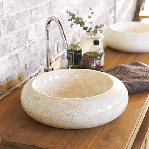 Tikamoon Loop Cream Vasque - Marbre - Beige - 40 x 40 x 12 cm