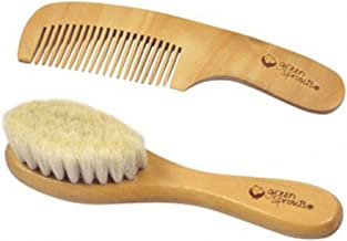green sprouts Baby Brush & Comb Set | Gently grooms baby's hair | Made of natural wood and bristles