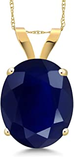 Gem Stone King 14K Yellow Gold Blue Sapphire Pendant Necklace For Women 5.00 Ct Oval Gemstone Birthstone with 18 Inch Chain