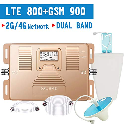 4G LTE Cellular Signal Repeater, GSM 900 LTE 800 4G Cellulaire Booster GSM Band 20 signaalversterker 70dB Gain LCD-scherm