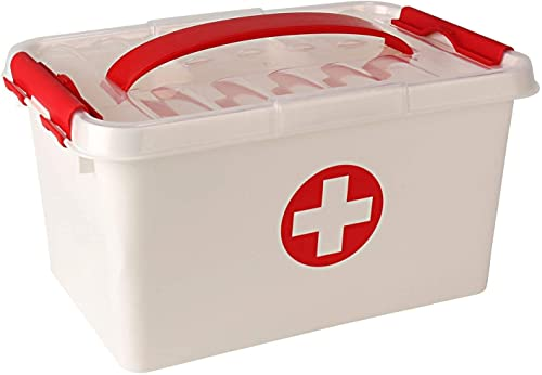 SHOPPOSTREET Portable Plastic First Aid Rectangular Lockable Medicine Storage Box Emergency Cabinet Organizer with Detachable Tray and Handle White Standard