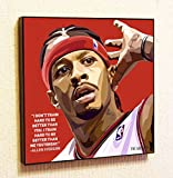 Allen Iverson NBA Backetball Sport Decor Motivational Quotes Wall Decals Pop Art Gifts Portrait Framed Famous Paintings on Acrylic Canvas Poster Prints Artwork Geek (10x10 (25.4cm x 25.4cm))