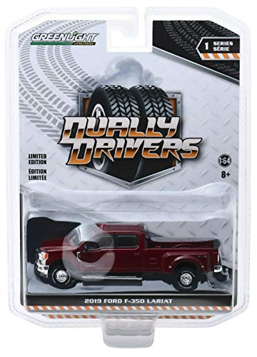 Greenlight 46010-D Dually Drivers Series 1-2019 Ford F-350 Lariat - Ruby Red 1:64 Scale