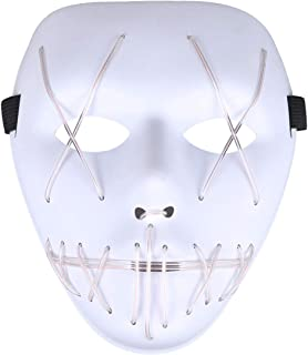 Light Up Led Mask Purge Neon Flashing El Wire Glow Scary Costumes for Halloween, Party
