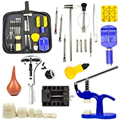 DIY Complete Set of Tools: Multi - functional clock repair kit with a complete set of tools, tools are available for the entire maintenance process, you don't need to buy anything extra ,collocation clean cloth. 55MM Watch Case Opener: This professio...