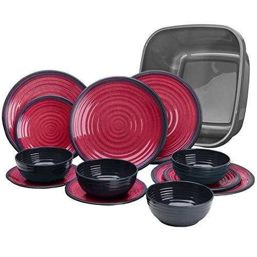 Melamin Geschirr für 4 Personen in Rot Granit-Optik 13 Teile - mit Waschschüssel - mit je 4 großen Teller, 4 Dessertteller, 4 Schälchen - sehr robust dickwandig - farbecht - modernes Design - leicht