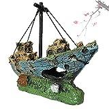 DIHAO Estatuas estatuillas decoración, naufragio casero Barco hundido Adorno de Acuario Barco de Vela Destructor pecera decoración del Tanque