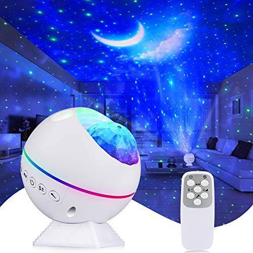 Tobeape Lampada proiettore a LED cielo stellato, luce notturna proiettore a onde oceaniche, luce cielo notturno, lampada atmosfera romantica perfetta feste per bambini piccoli, riunione di famiglia