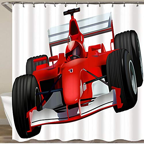 """CONICIXI Shower Curtain Set with 12 Hooks,Formula Race Car with The Driver Automobile Motorized Sports Theme Strong Engine,Decorative Bath Curtain Modern Bathroom Accessories,72"""" X 72"""""""
