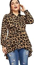 Romwe Women's Plus Size Leopard Print Long Sleeve High Low Button Down Longline Peplum Blouse Multicolor2 2XL
