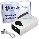 20000mAh Powerbank Reserve Zusatz Akku Ladegerät Lader Micro-USB Mini-USB für bea-fon SL580 SL670 SL820 Doro 1361 2404 2414 2424 5516 6050 8040
