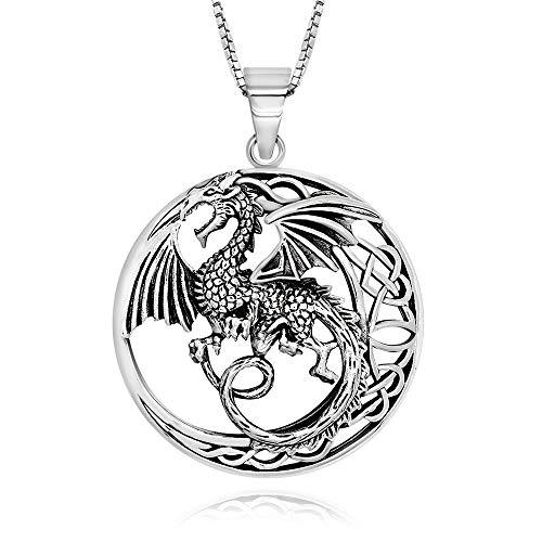 Colgante de plata de ley 925 oxidada con colgante de dragón luna, 45,7 cm