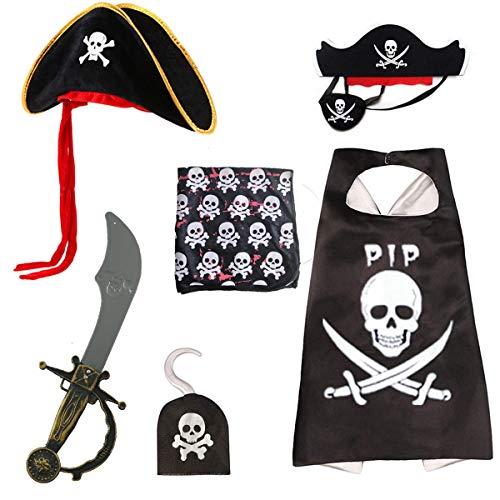 skyllc Juego de Disfraz de Pirata de Halloween 6 Piezas, Capa de Pirata, Sombrero de Tricornio, Parche de Ojo De Pirata, Capitán Garfio, Espada de Machete, Pañuelo de Pirata
