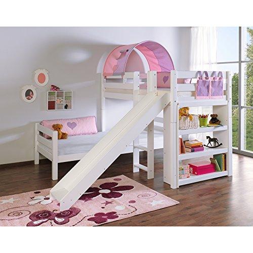 Relita Etagenbett BENI L mit Rutsche, Buche massiv, weiß lackiert, mit Tunnel und Tasche purple/rosa Herz
