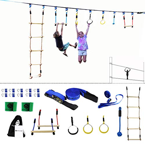 Gentle Booms Sports Ninja Line Obstacle Course Kit Monkey Bar Kit 56 Foot, Kids Slackline Hanging Obstacle Course Set, Extreme Training Equipment for Outdoor Play, Family Paly Together