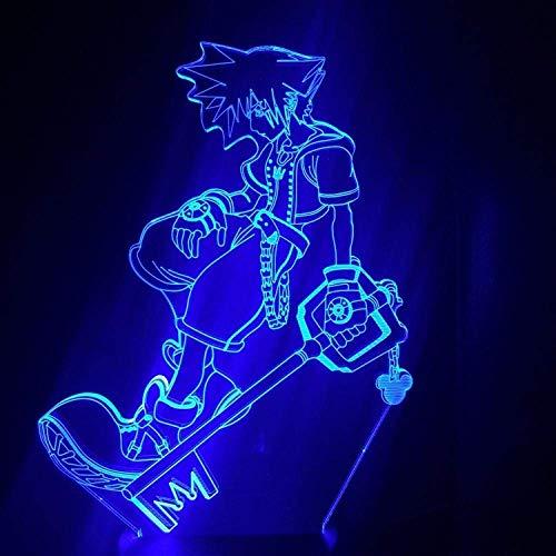 3D Anime luz de noche lámpara de noche juego Kingdom Hearts Sora Keyade figura niños Led colorida lámpara de decoración LED para dormitorio de niños