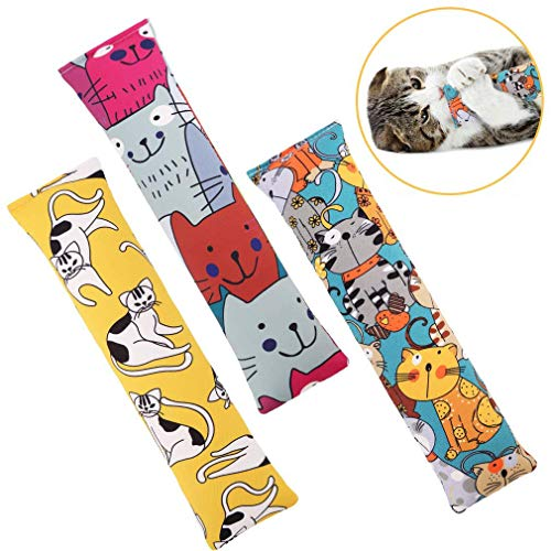 BINGPET Catnip Toys for Indoor Cats - 3 Pack Cat Kicker Toy with Catnip - Durable Interactive Cat Kickers with Natual Catnip Filled Cute Kitty Pattern for Kitty