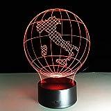 Luz Estéreo Italia Mapa de la Tierra Luz 3D Visual Led Lámpara 7 Color Seta USB Dormitorio Pequeño Escritorio Lámpara 7 Colores Cambiantes Led Luces de Noche Deco