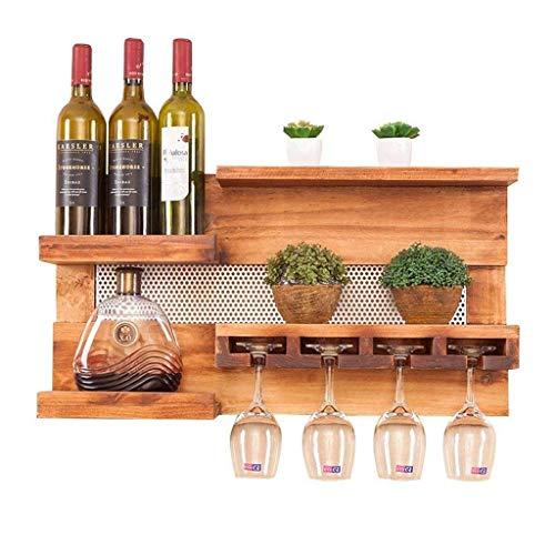 FXDCQC Weinregal Weinregal Wandhängender Weinglashalter Weinflaschenhalter Aus Holz Mehrzweckregal An Der Wand Wandhalterung