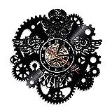 Reloj de Pared con Disco de Vinilo Steampunk, búho, Muebles Steampunk, Adornos de búho Steampunk, decoración gótica, Engranajes, Arte de Pared, decoración, Regalos, 12 Pulgadas