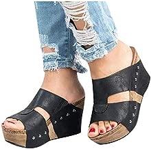 ZBYY Women Chunky Slide On Wedge Heels High Wedges Sandal Open Toe Platform Sandals Comfort Thick Summer Dressy Slipper Black