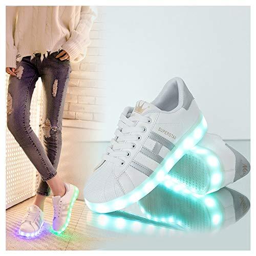 WXBXIEJIA Zapatos De Luces para Niños LED Zapatos Ligero Transpirable Bajo 7 Colores USB Carga Luminosas Flash Deporte De Zapatillas con Luces Los Mejores Regalos para Cumpleaños Silver-37