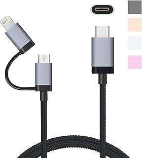 LOE USB-C 高耐久ナイロン 2in1 ライトニング USBケーブル USB Type-C & Lightning/MicroUSB (1m ブラック)