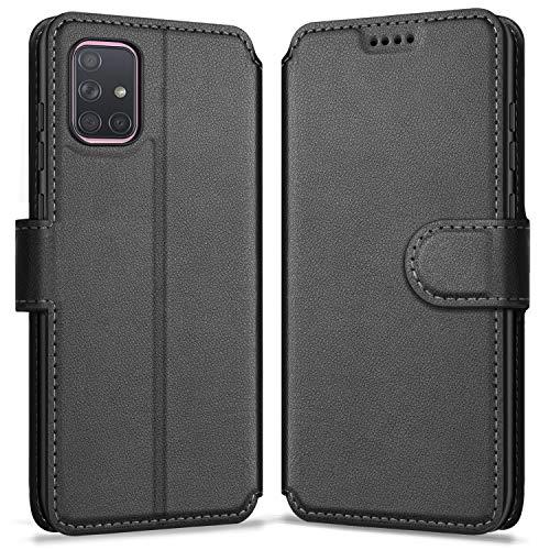ykooe Handyhülle Kompatibel mit Samsung Galaxy A71 Hülle, Hochwertige PU Leder Handy Schutz Hülle für Samsung Galaxy A71 Flip Tasche, Schwarz
