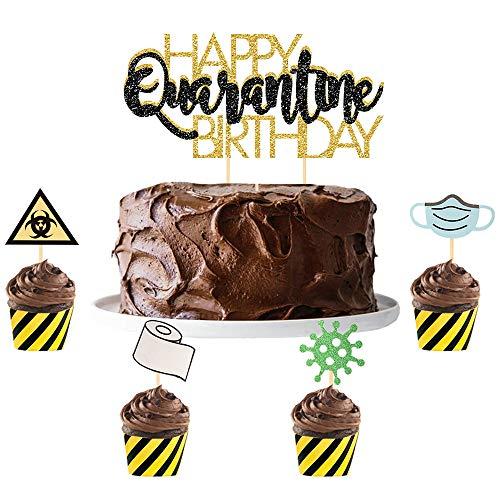Happy Quarantine Birthday Cake Topper Social Distancing Birthday Party Supplies Black Gold Glitter