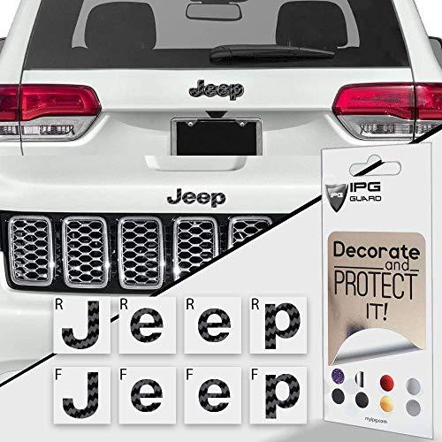 IPG for Jeep Grand Cherokee 2014-2020 Front and Rear Emblem Overlay Decal Stickers - Emblem Do it Yourself Stickers Set Personalize Your Grand Cherokee (Black Carbon Fiber)