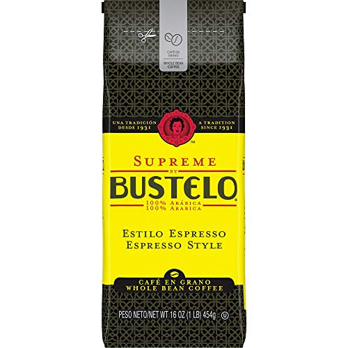 Supreme by Bustelo Espresso Style Dark Roast Whole Bean Coffee, 16 Ounces (Pack of 8)