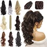 Felendy Ponytail Extension Claw 18' 20' Curly Wavy Straight Clip in Hairpiece One Piece A Jaw Long Pony Tails for Women Light Auburn