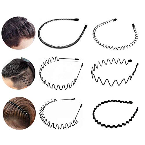 6 Pieces Metal Headbands Wavy Hairband Spring Hair Hoop Sports Fashion Hair Bands Unisex Black Elastic Non Slip Simple Headwear Accessories