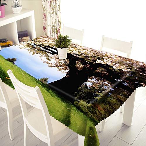 Amody Nappe Lavable Table Rectangulaire, Nappe Table de Cuisine Cerise Arbre Vert Blanc 152x228CM