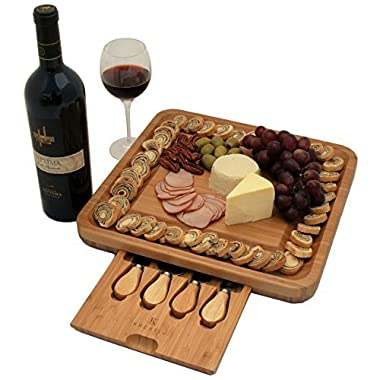 Premium Bamboo Cheese Board Set with Hidden Slide Out Drawer - Cutlery Set Included (Drawer does not interrupt the use of the Cheese Board)