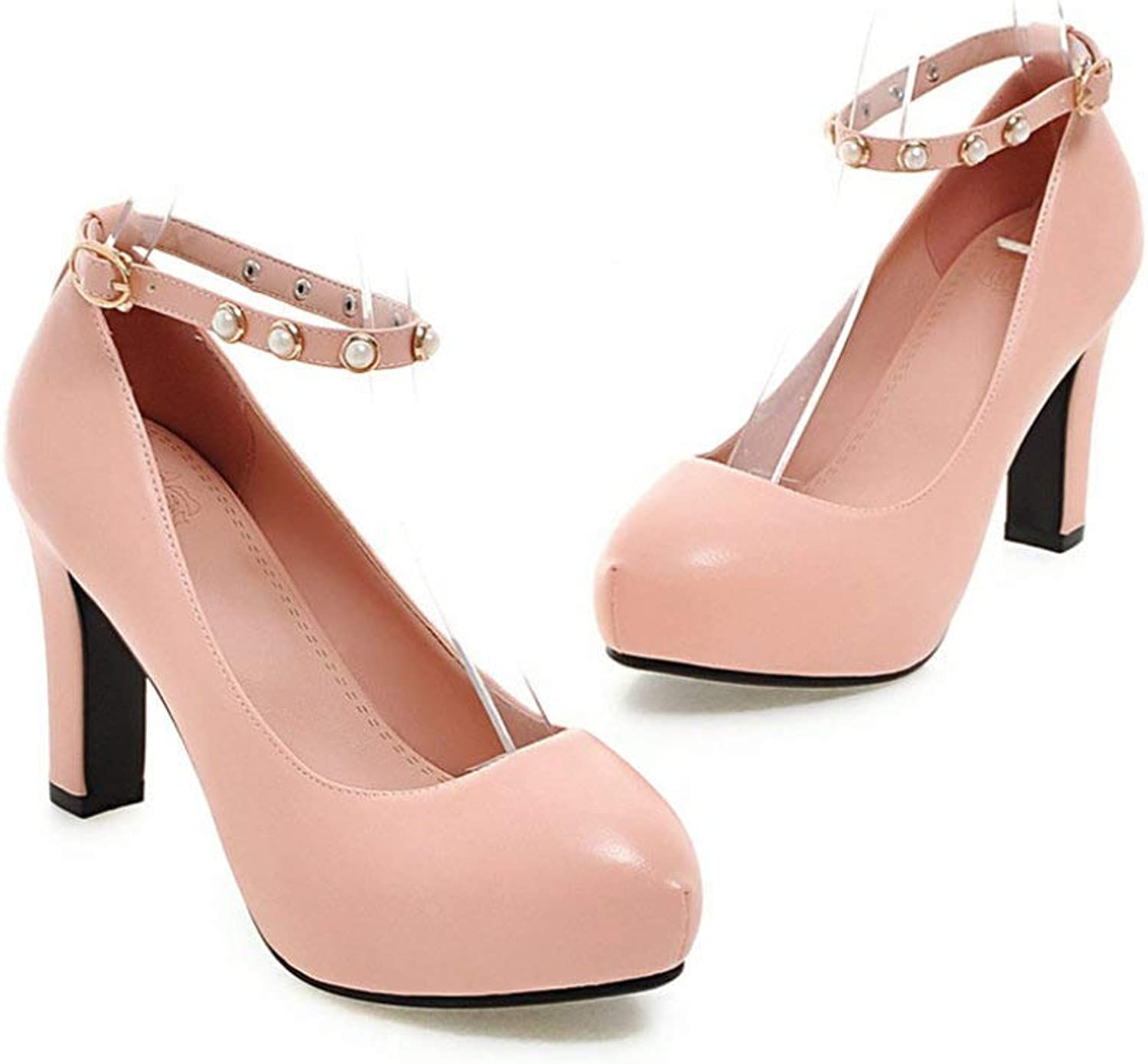 Women Hight Heels shoes Platform Round Toe Adjustable Buckle with Pearl Sandals Fashion D'Orsay Pumps