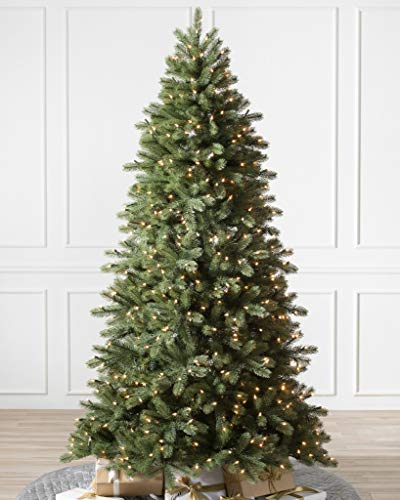 Balsam Hill 7.5ft Premium Prelit Artificial Christmas Tree Woodland Spruce with Clear LED Lights, Easy Plug, Storage Bag, and Fluffing Gloves