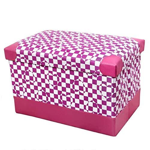 MFLASMF Taburete otomano plegable, taburete rectangular con almacenamiento, taburete de piel sintética para cambiar los zapatos, reposapiés pequeño, mesa de centro acolchada para decoración del hogar