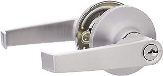AmazonBasics Entry Door Lever With Lock, Hook, Satin Nickel