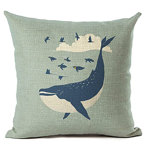 MissW Funda De Almohada Decorativa De La Serie Blue Whale Adecuada para El Hogar Hotel Cafetería Sin Funda De Almohada Funda De Almohada Lavable con Cremallera Funda De Cojín