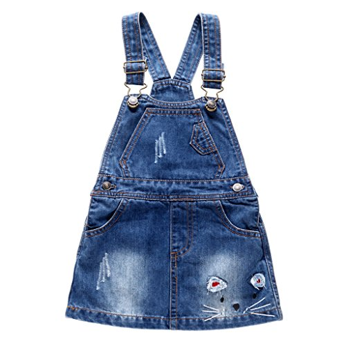 Baby-Mädchen Denim-Kleid Rock Jeans Latzrock Latzkleid Mini Jeanskleid mit Hosenträger 9-12 Monate