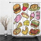 SUHETI Duschvorhang 180x180cm,Bunter Cartoon der Junk Food Gekritzel Burger Steak Pizza,Duschvorhang Wasserabweisend-Duschvorhangringen 12 Shower Curtain mit