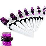 Gauge Gear® 28Pc Blanc Kit de casque d'extension, Blanc oreille Taper Kit d'installation et violet Paillettes Caisse à outils pour 1.6mm-10mm