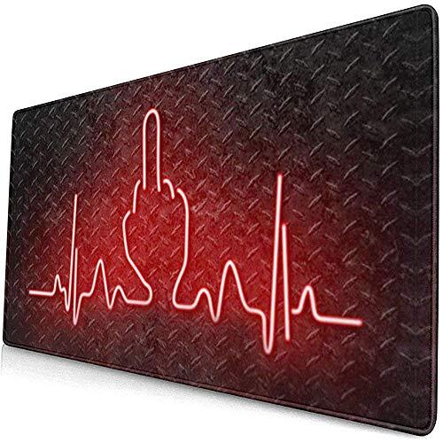Schreibtischunterlage,Herzschlag Mittelfinger Ficken Sie Neon Glatt Waschbar Schreibtisch Pads Für Office Computer Decor 40*75cm