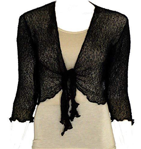 Coprispalle bolero da donna in maglia traforata, ampia vestibilità, lavorato a maglia Black Taglia unica