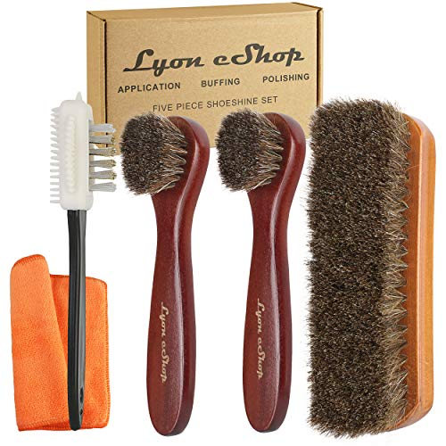 Shoe Shine Brush Kit Has Full-Size Horsehair Brush, Applicator and Suede Brushes, Large Buffing Cloth