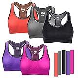 WADEO [5 Piezas] Sujetador Deportivo para Mujeres, cómodos Suave y Almohadillas Extraíbles, para Ejercicios de Yoga, Gimnasio, Corriendo, Chalecos de Ocio
