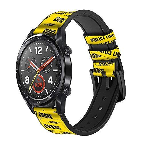Innovedesire Police Line Do Not Cross Correa de Reloj Inteligente de Cuero para Wristwatch Smartwatch Smart Watch Tamaño (24mm)