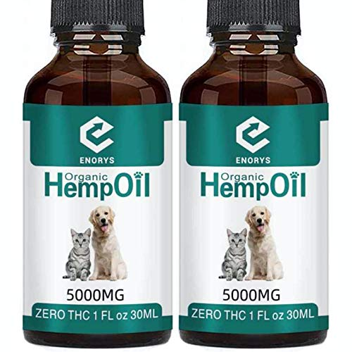 Enorys 2 X Organic Hemp Oil for Pets – 5000mg Hemp Oil for Dogs and Cats – 1Fl Oz All-Natural Hemp Seed Oil – Helps with Anxiety and Stress Relief – Rich in Nutrients | Omega 3,6,9