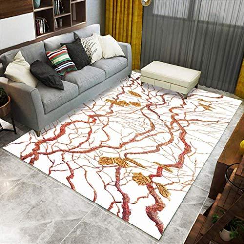 xuyuandass Carpet Moderncreative Gold Leaf Vine 3D Printing Living Room Bedroom Warm Rug 120X160Cm Yoga Mat Household Carpet